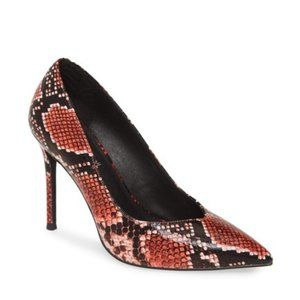 JEFFREY CAMPBELL Red Snake Pointed Toe Heels Pumps